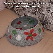 Для домашних животных, ручной работы. Ярмарка Мастеров - ручная работа Лежанка валяная Цветочная полянка. Handmade.