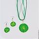 Комплект `Спираль` зеленый, колье, серьги из полимерной глины