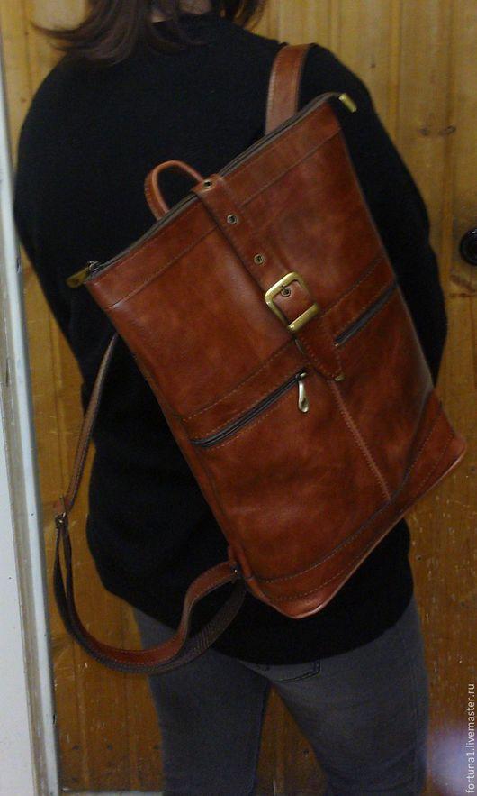Рюкзаки ручной работы. Ярмарка Мастеров - ручная работа. Купить Рюкзак кожаный 68. Handmade. Коричневый, рюкзак кожаный