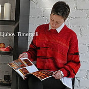 Одежда ручной работы. Ярмарка Мастеров - ручная работа Красный вязаный свитер «Спелая вишня» Авторская ручная работа. Handmade.