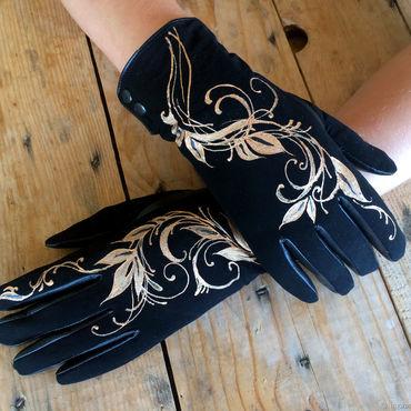"Accessories handmade. Livemaster - original item Черные перчатки кожаные. ""Индийские напевы"".. Handmade."