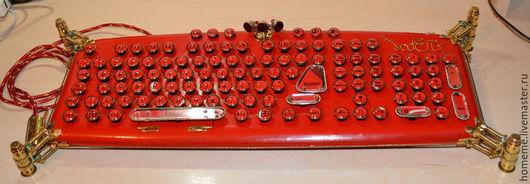 Красная стимпанк клавиатура `LaFerri ` . RED steampunk keyboard `LaFerri `