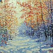 Картины и панно ручной работы. Ярмарка Мастеров - ручная работа Зимний лес освещенный солнцем. Handmade.