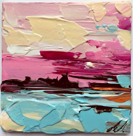 Пейзаж ручной работы. Ярмарка Мастеров - ручная работа. Купить Розовый восход. Handmade. Восход, мастихин, мастихин, холст на картоне