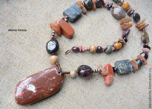 """Колье, бусы ручной работы. Ярмарка Мастеров - ручная работа. Купить ожерелье """"Дары Макоши"""". Handmade. Бордовый, янтарь натуральный"""