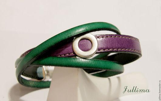 Браслеты ручной работы. Ярмарка Мастеров - ручная работа. Купить Кожаный браслет  зеленым с фиолетовым. Handmade. Тёмно-зелёный, браслет