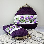 Сумки и аксессуары handmade. Livemaster - original item Kit cosmetic Bag and case for glasses all violet. Handmade.