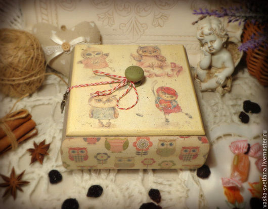 """Корзины, коробы ручной работы. Ярмарка Мастеров - ручная работа. Купить Коробок для подарка ребёнку """"Совята"""". Handmade. Короб"""