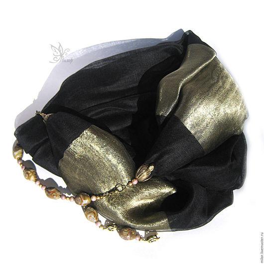 """Шарфы и шарфики ручной работы. Ярмарка Мастеров - ручная работа. Купить Шарф колье и серьги """"Злато скифов""""  с браслетом  лэмпворк. Handmade."""