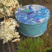 Для дома и интерьера ручной работы. Ярмарка Мастеров - ручная работа Шкатулка голубая с павлином. Handmade.
