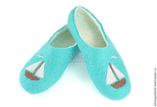 Обувь ручной работы. Ярмарка Мастеров - ручная работа. Купить Тапочки Кораблики. Handmade. Войлочные тапочки, дизайнерские тапочки