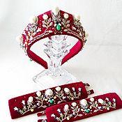 Украшения handmade. Livemaster - original item Jewelry sets: Velvet band and cuffs Pearl set. Handmade.