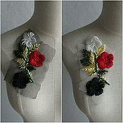 """Аппликации ручной работы. Ярмарка Мастеров - ручная работа Пара аппликаций """"Цветы"""" (вышивка на сетке). Handmade."""