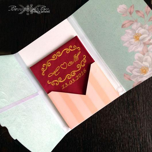 открытка годовщина свадьба вышивка платочек носовой