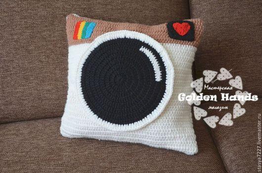 """Текстиль, ковры ручной работы. Ярмарка Мастеров - ручная работа. Купить Чехол на подушку  """"INSTAGRAM"""". Handmade. Разноцветный, подушка-игрушка"""