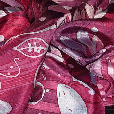 """Аксессуары ручной работы. Ярмарка Мастеров - ручная работа Шелковый шарф """"Ягодный микс"""", батик, ручная роспись. Handmade."""