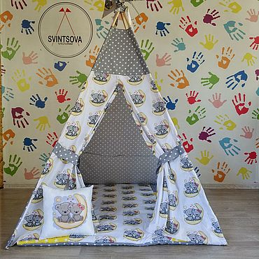 Для дома и интерьера ручной работы. Ярмарка Мастеров - ручная работа Серо-желтый вигвам с мишками. Handmade.