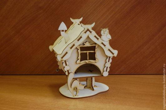 Чайный домик `Избушка` (продается в разобранном виде на палетке) Размеры:  габарит - 12,5х11х18 см домик - 9,5х11,5х12,5 см,  Материал: фанера 3 мм