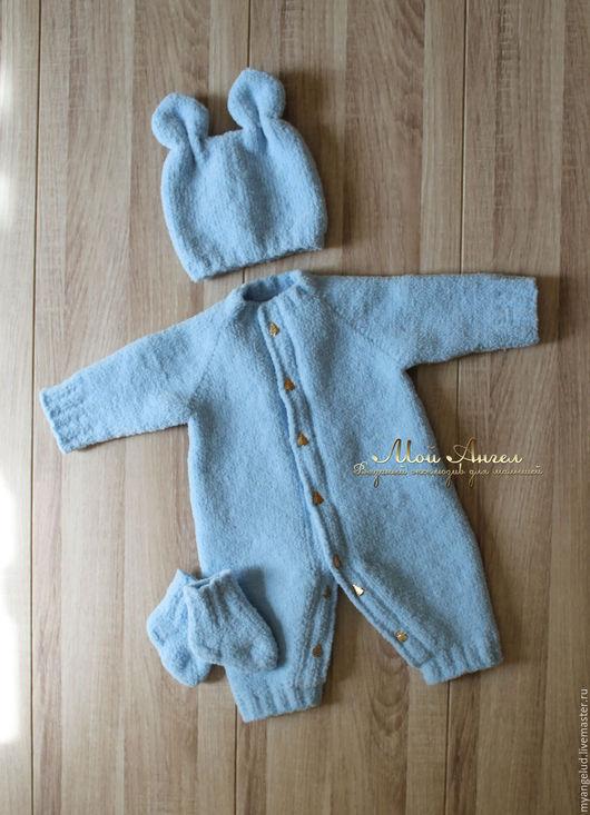 """Для новорожденных, ручной работы. Ярмарка Мастеров - ручная работа. Купить Комплект для новорожденных """"Зайка"""". Handmade. Голубой, комбинезон для мальчика"""