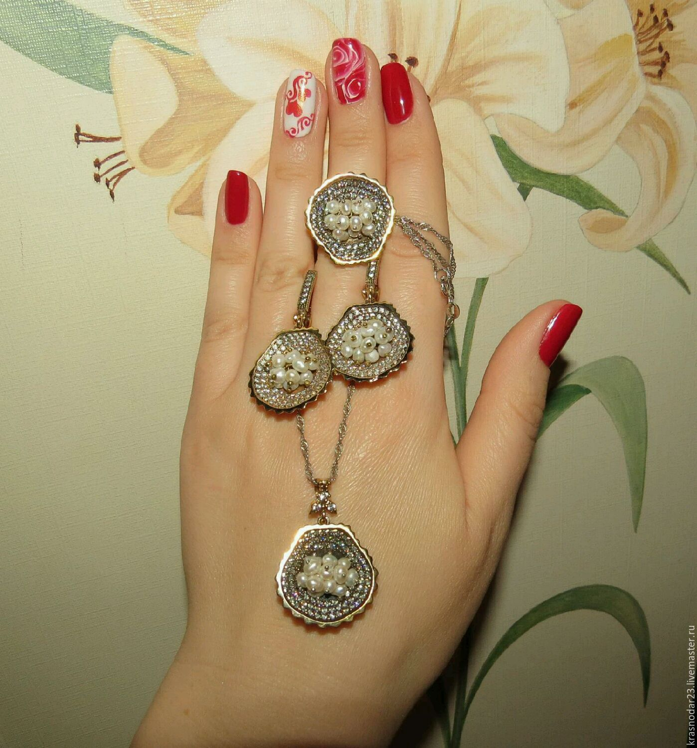 """The set of """"Pearl story"""" from 925 sterling silver with gold, Jewelry Sets, Krasnodar,  Фото №1"""