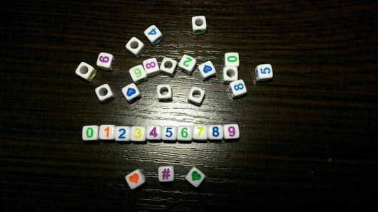 Для украшений ручной работы. Ярмарка Мастеров - ручная работа. Купить Бусины цифры. Handmade. Бусины, цифры, бусины цифры