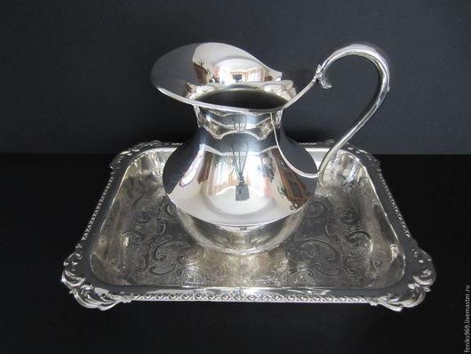 Винтажная посуда. Ярмарка Мастеров - ручная работа. Купить Прелестный кувшинчик для молока или сливок с подносом.. Handmade. Серебряный