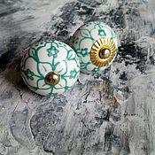 Для дома и интерьера ручной работы. Ярмарка Мастеров - ручная работа Расписные ручки для мебели с зелёным орнаментом. Handmade.