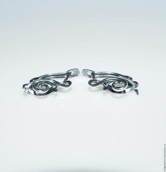 """Для украшений ручной работы. Ярмарка Мастеров - ручная работа. Купить Основа для серег """"Лия"""" (12Х6)- серебрение 925 пробы. Handmade."""