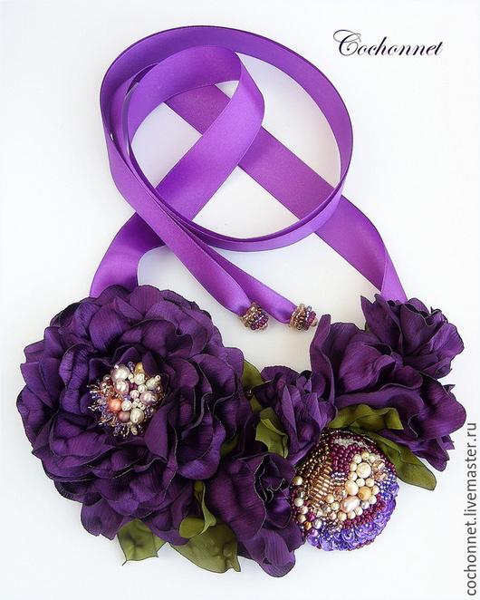 """Колье, бусы ручной работы. Ярмарка Мастеров - ручная работа. Купить Колье с цветами из ткани """"Пурпурный закат"""".. Handmade. Колье"""