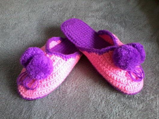 Обувь ручной работы. Ярмарка Мастеров - ручная работа. Купить Тапочки - шлепки (Сиреневые помпоны). Handmade. Сиреневый, тапочки женские