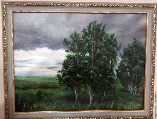"""Пейзаж ручной работы. Ярмарка Мастеров - ручная работа. Купить Картина маслом """"Перед грозой"""". Handmade. Тёмно-зелёный, природа"""