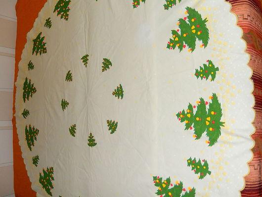 Винтажные предметы интерьера. Ярмарка Мастеров - ручная работа. Купить Винтажная новогодняя круглая скатерть, винтажный текстиль Германия. Handmade.