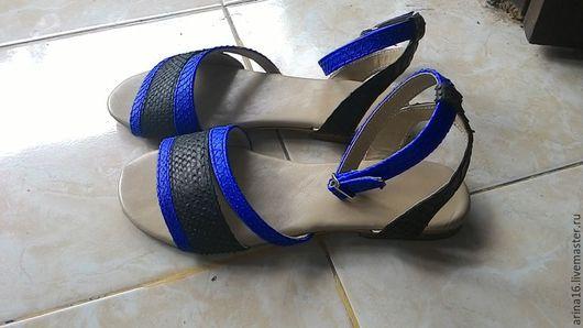 Обувь ручной работы. Ярмарка Мастеров - ручная работа. Купить сандалии комбинированные. Handmade. Разноцветный, сандалии из питона, босоножки из питона