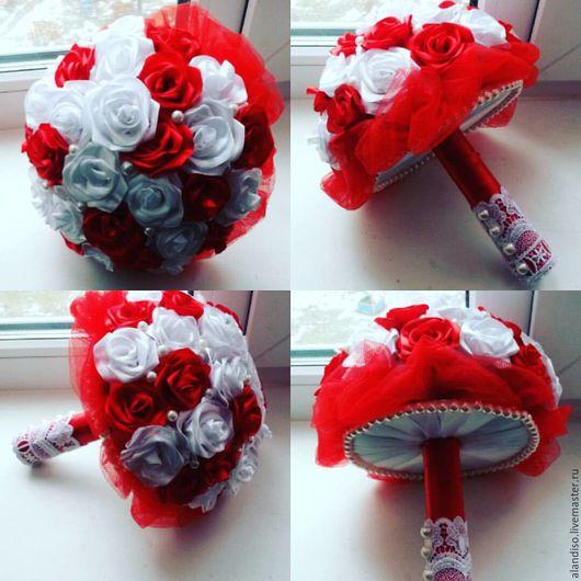 Свадебные цветы ручной работы. Ярмарка Мастеров - ручная работа. Купить Букет невесты. Handmade. Ярко-красный, букет, свадьба