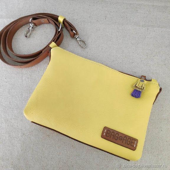 Handbags handmade. Livemaster - handmade. Buy Bag crossbody leather purse yellow.Bag, clutch, leather clutch, yellow bag