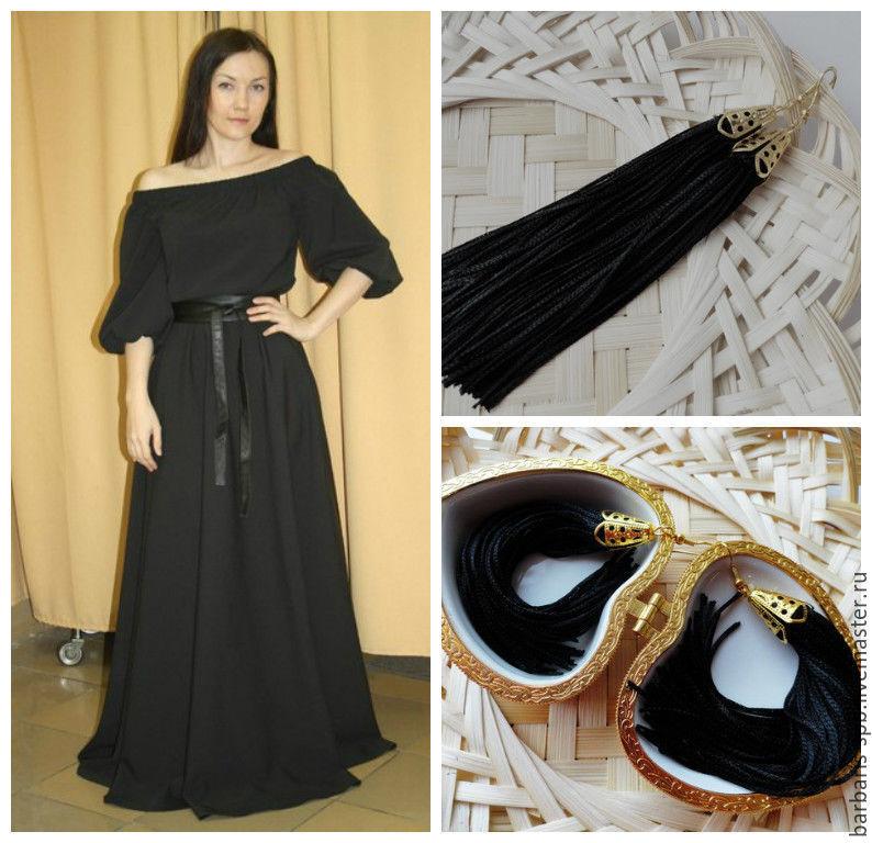 Черное платье и черные серьги