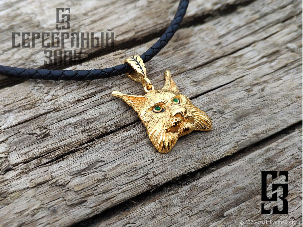 Lynx Charm. Pendant For Women. 925 sterling silver gold Plated 999 art.Three million fifteen thousan, Pendants, St. Petersburg,  Фото №1