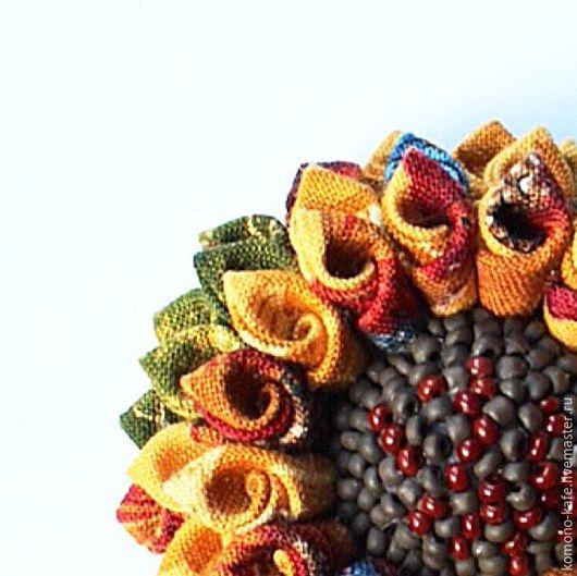 """Броши ручной работы. Ярмарка Мастеров - ручная работа. Купить Брошь """"Подсолнух из Зама"""". Handmade. Желтый, мятный, брошь цветок"""