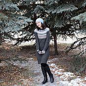 Одежда handmade. Livemaster - original item Knit dress jacquard grey Winter. Handmade.