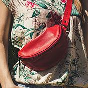 Сумки и аксессуары handmade. Livemaster - original item Belt bag from red leather. Handmade.