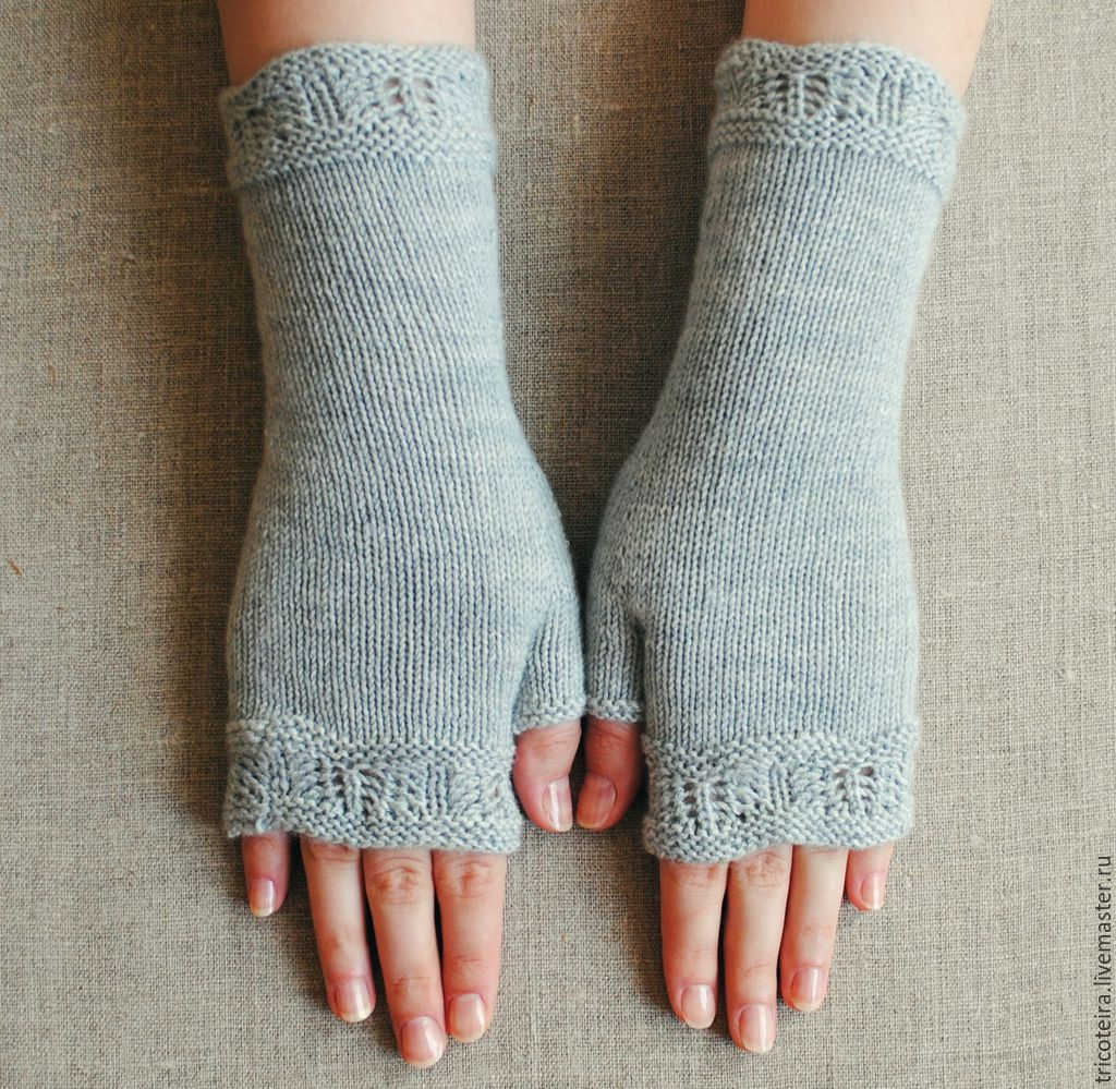 Knitted mitts with a Lacy edge, Mitts, Moscow,  Фото №1