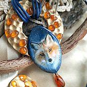Украшения handmade. Livemaster - original item Fox pendant and ring lacquer miniature. Handmade.