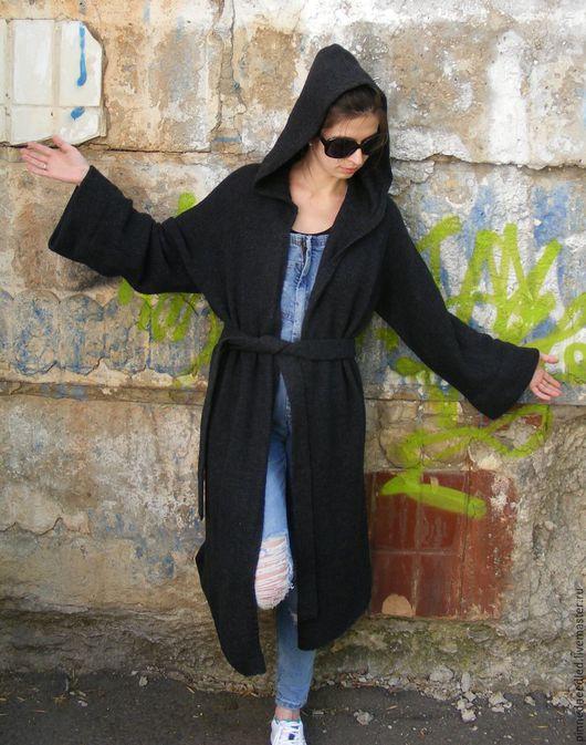 Верхняя одежда ручной работы. Ярмарка Мастеров - ручная работа. Купить вязаное летнее пальто кардиган. Handmade. Темно-серый