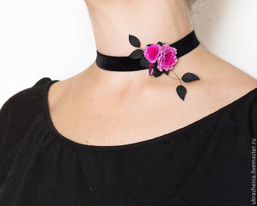 Бархотка на шею с ярко-розовой розочкой. Цена 1100р
