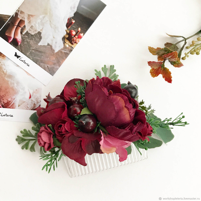 Бордовый гребень, гребнь с пионом, гребень для марсала, свадьба рустик, Украшения, Санкт-Петербург,  Фото №1