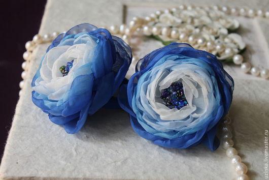 """Заколки ручной работы. Ярмарка Мастеров - ручная работа. Купить Резиночка для волос с цветком """"Синева"""". Handmade. Синий, украшение для волос"""