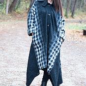 Одежда ручной работы. Ярмарка Мастеров - ручная работа Пальто. Зимнее пальто из шерсти. Пальто в клетку. Черное пальто.. Handmade.