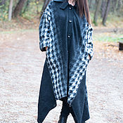 Одежда handmade. Livemaster - original item coat. Winter coats made of wool. Coat in a cage. black coat.. Handmade.