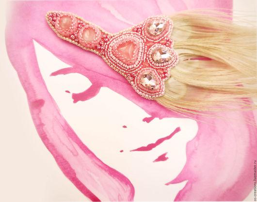 """Диадемы, обручи ручной работы. Ярмарка Мастеров - ручная работа. Купить Повязка на волосы """"Нежность"""". Handmade. Бледно-розовый"""