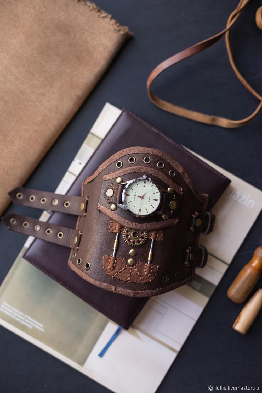 Стимпанк-браслет с часами из натуральной кожи, Аксессуары, Челябинск,  Фото №1